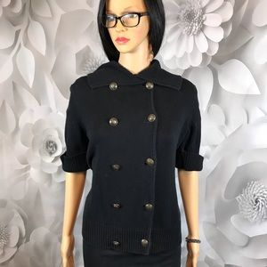 Ralph Lauren black double breasted cardigan size M